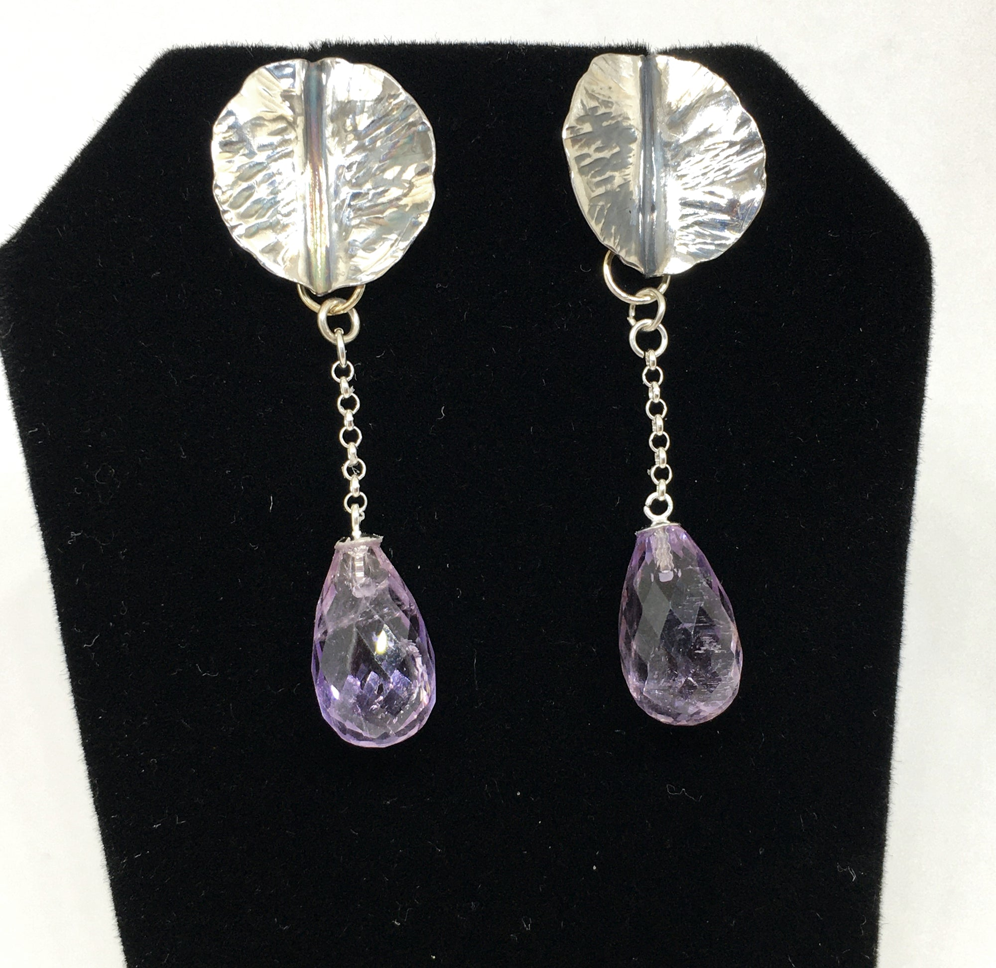 Hand Forged Leaf Earrings with Amethyst Drops