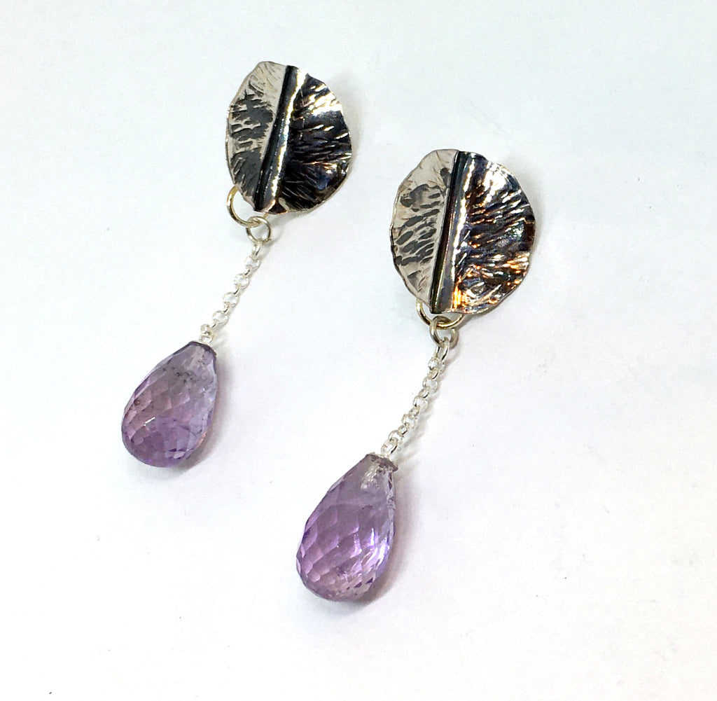 Handforged Leaf Earrings with faceted amethyst drops