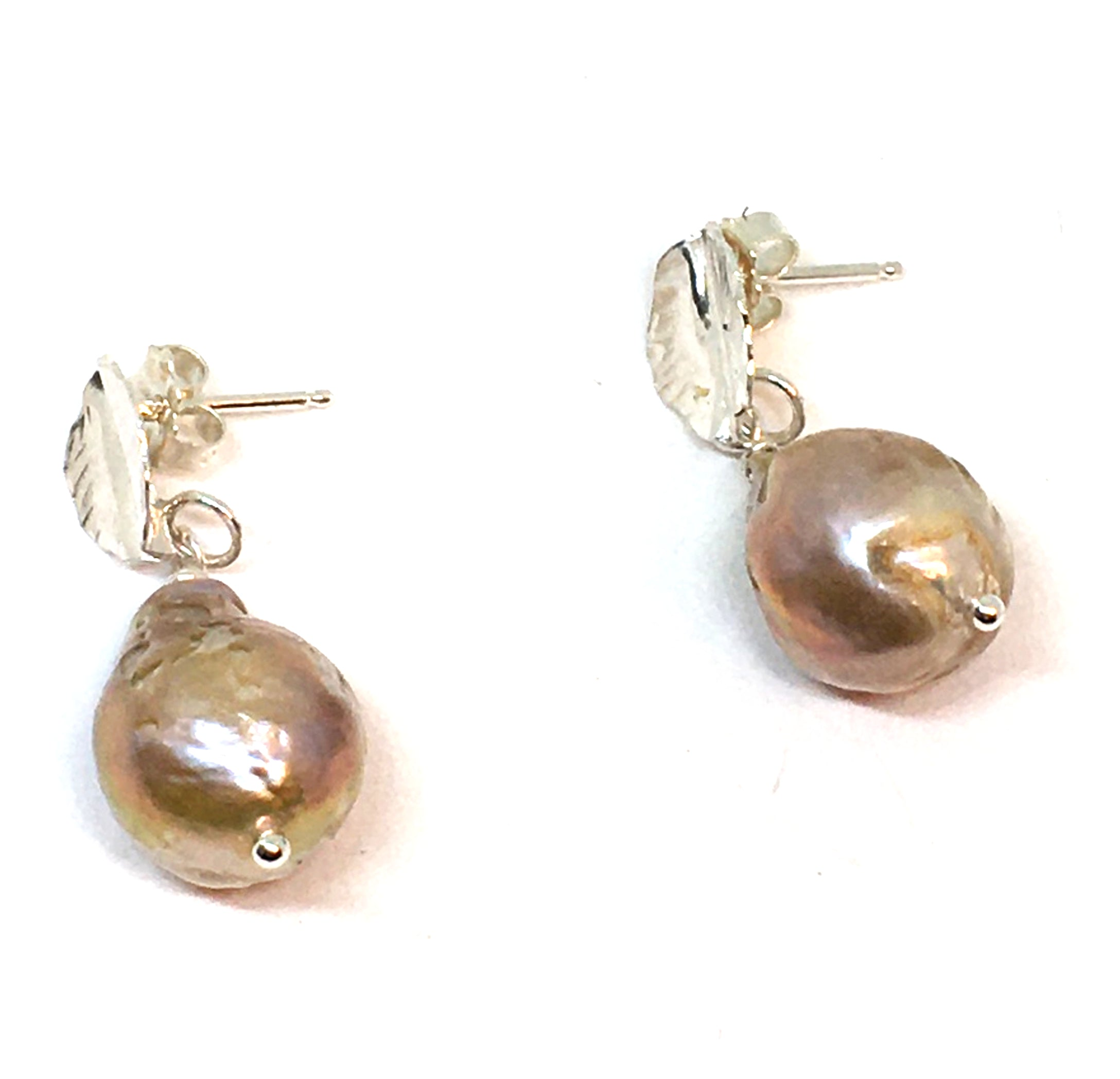 Fireball Pearl Drop Earrings with Hand Forged Silver Leaves