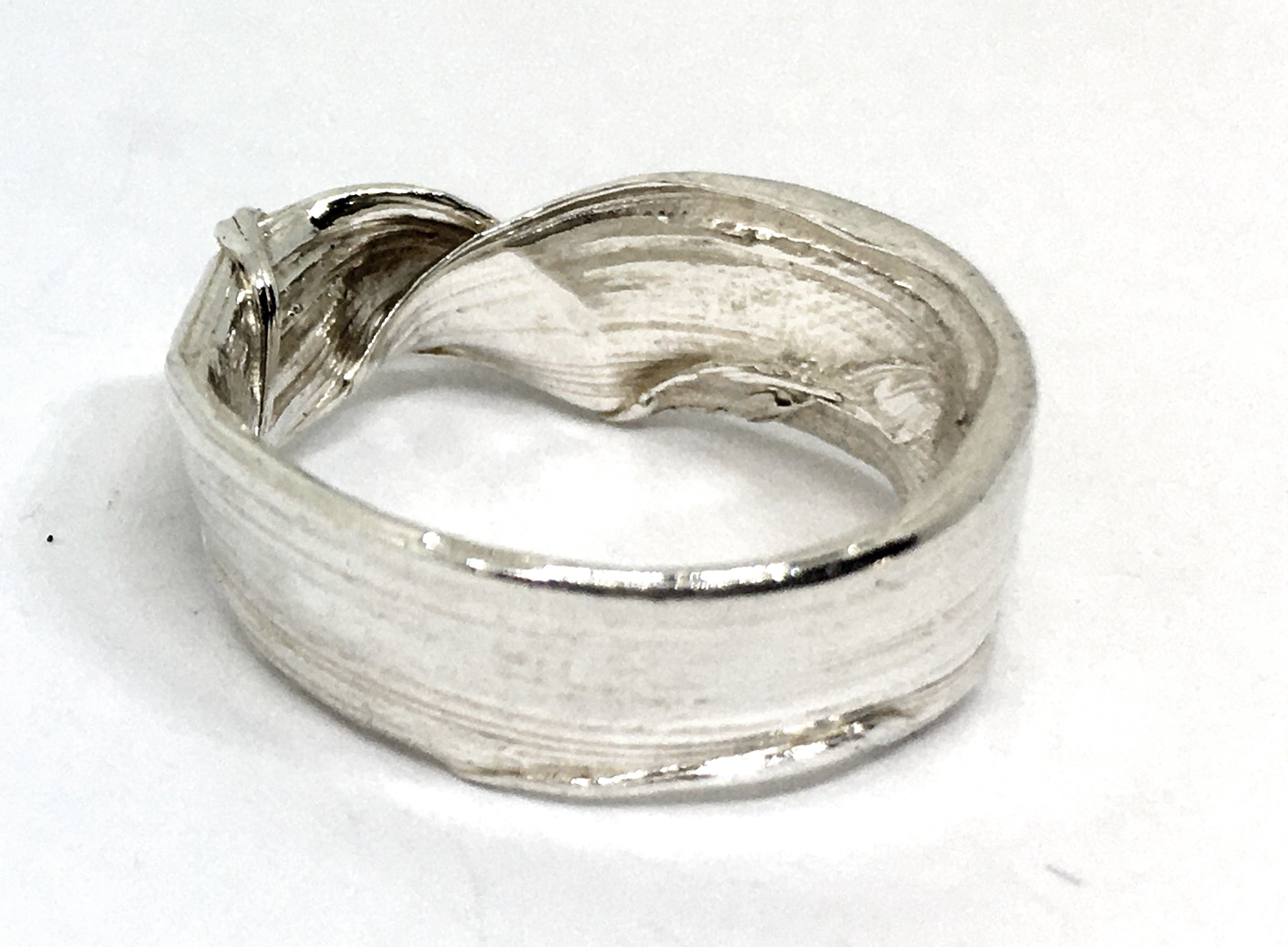 Folded Bamboo Leaf Ring in Sterling Silver