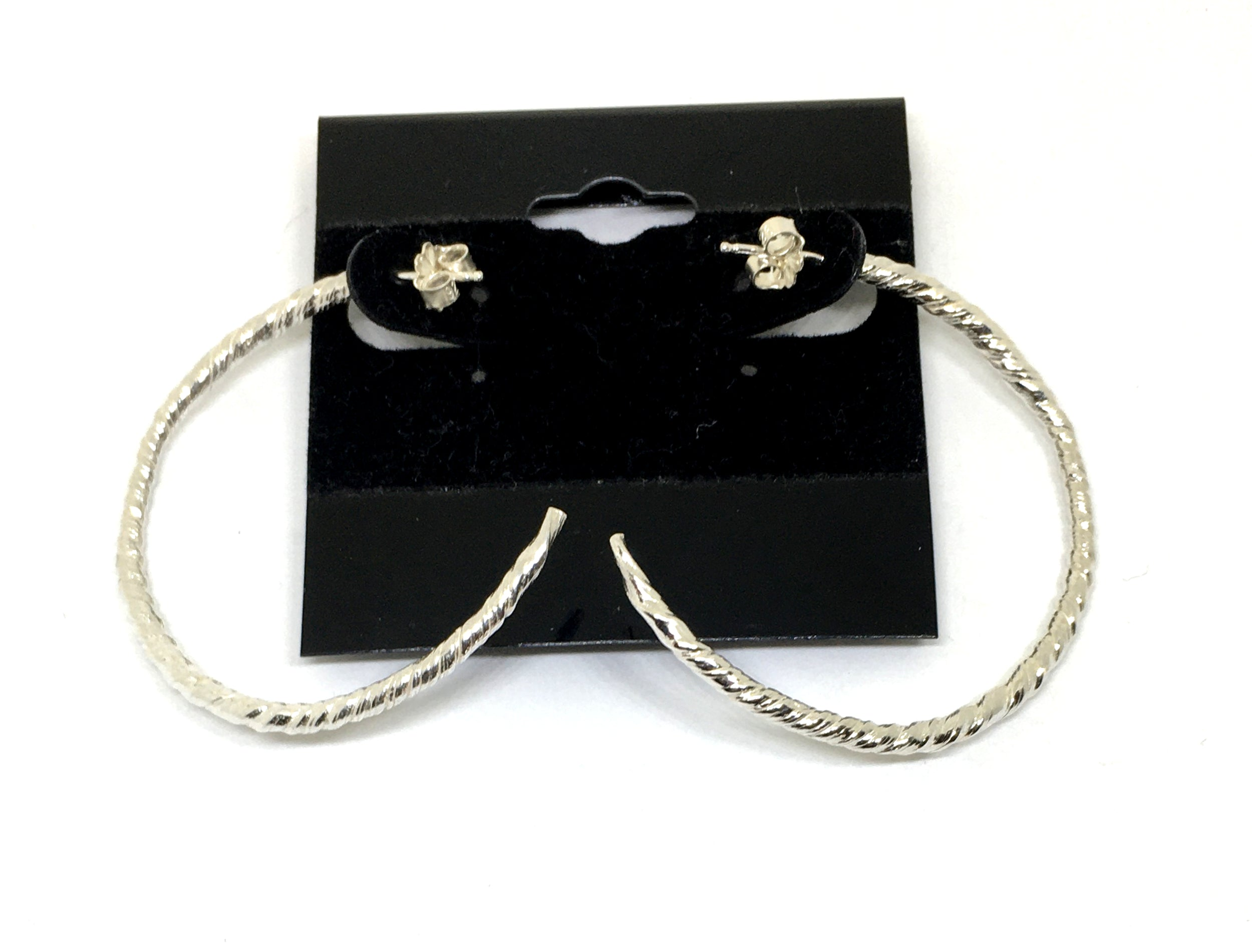 Sterling Silver Twist Semi Hoop Earrings - Large Size