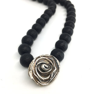 Sterling Silver Mitsuro Hikime Rose Pendant with Honeycomb Onyx Necklace