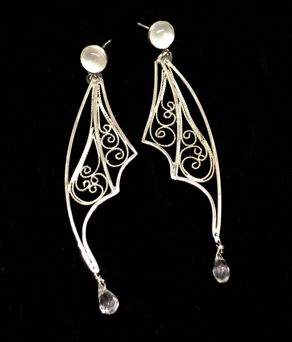 handmade silver filigree earrings with moonstone and white topaz