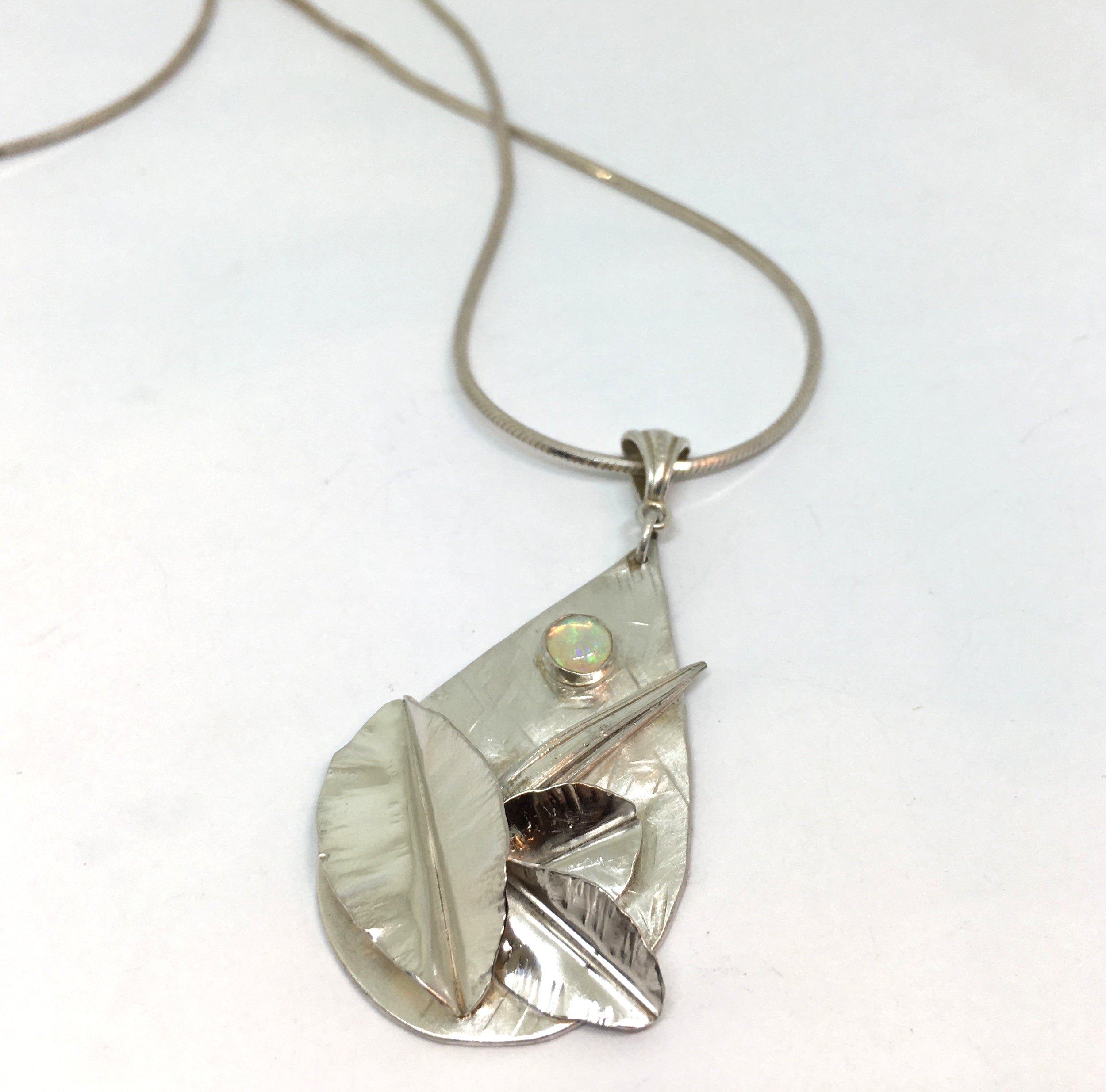 Botanical Opal Sterling Silver Pendant Necklace - Moon Garden