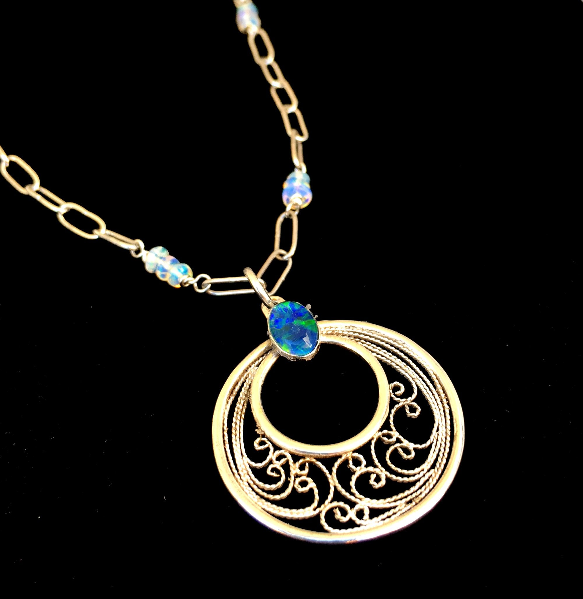 handmade silver filigree pendant necklace with black australian opal