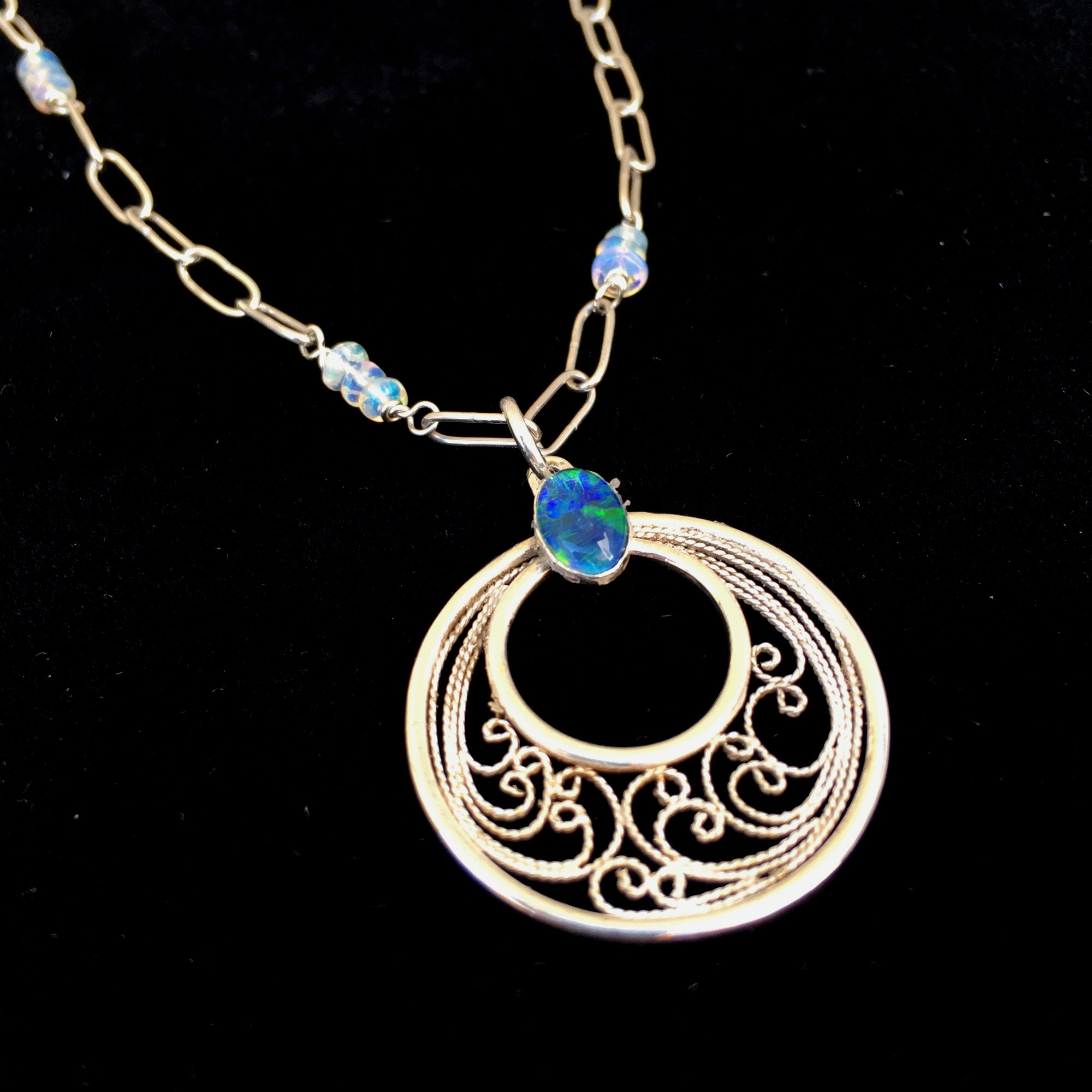 Silver Filigree Black Opal Pendant with Handmade Opal Chain