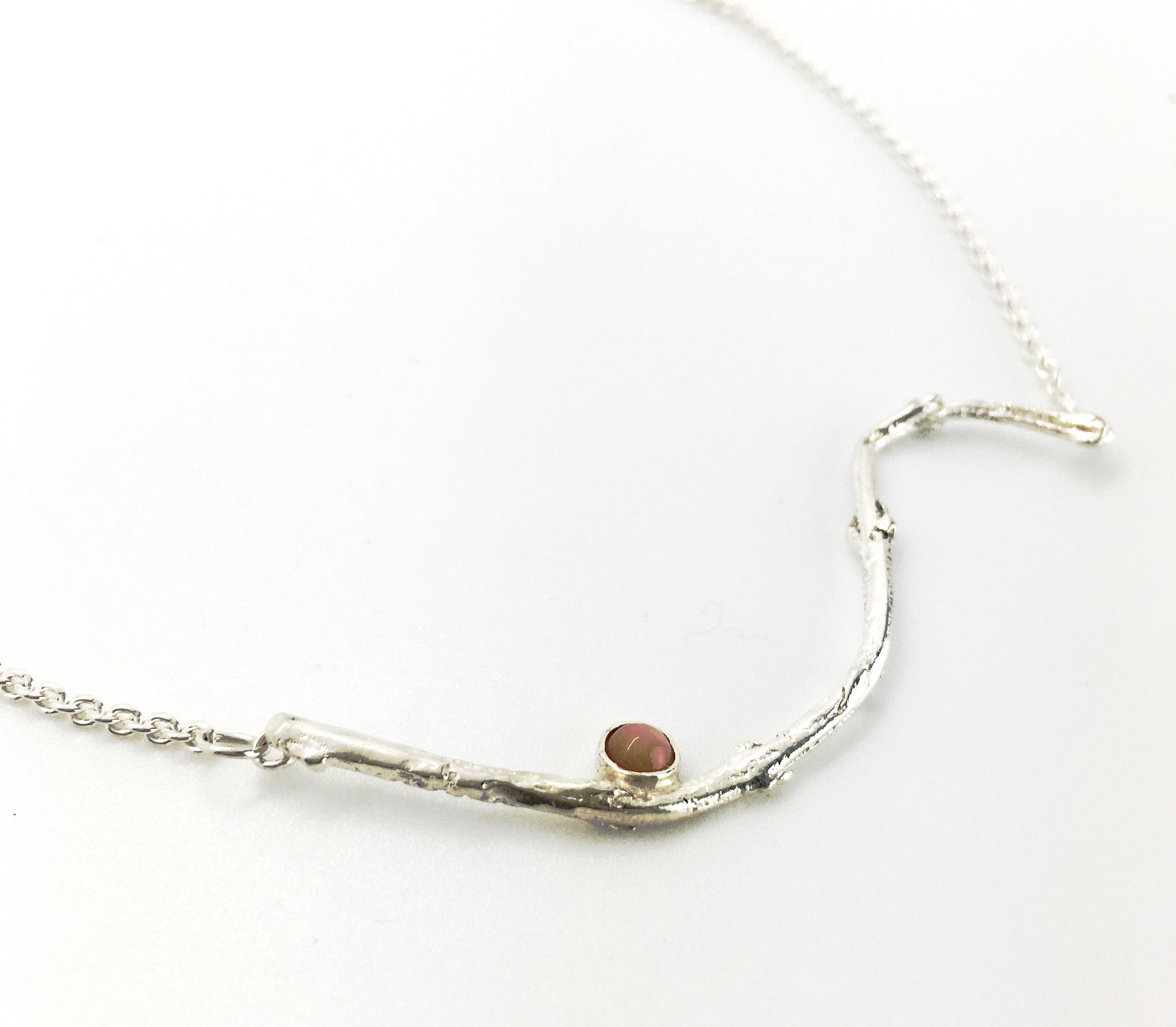 sterling silver olive twig necklace with peach moonstone gem