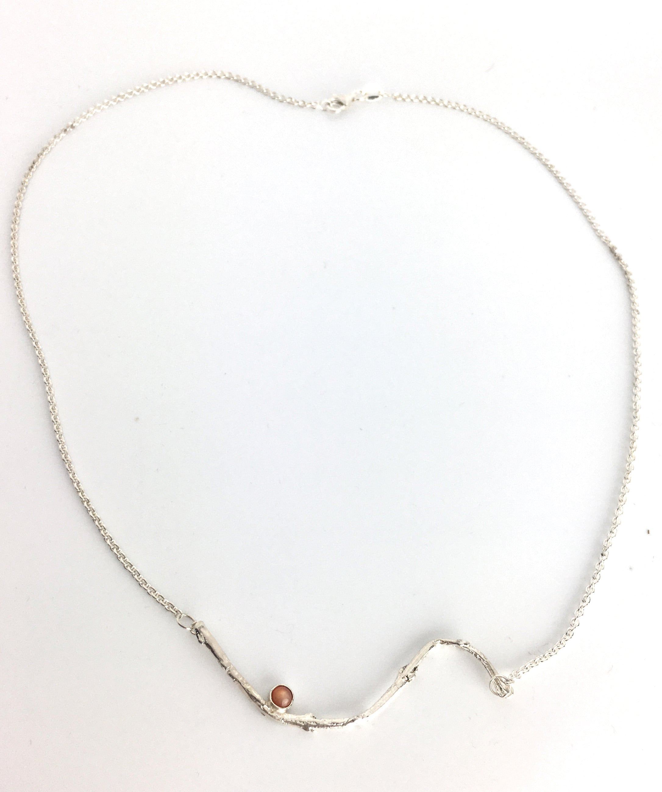 Sterling Silver Olive Twig Necklace with Peach Moonstone