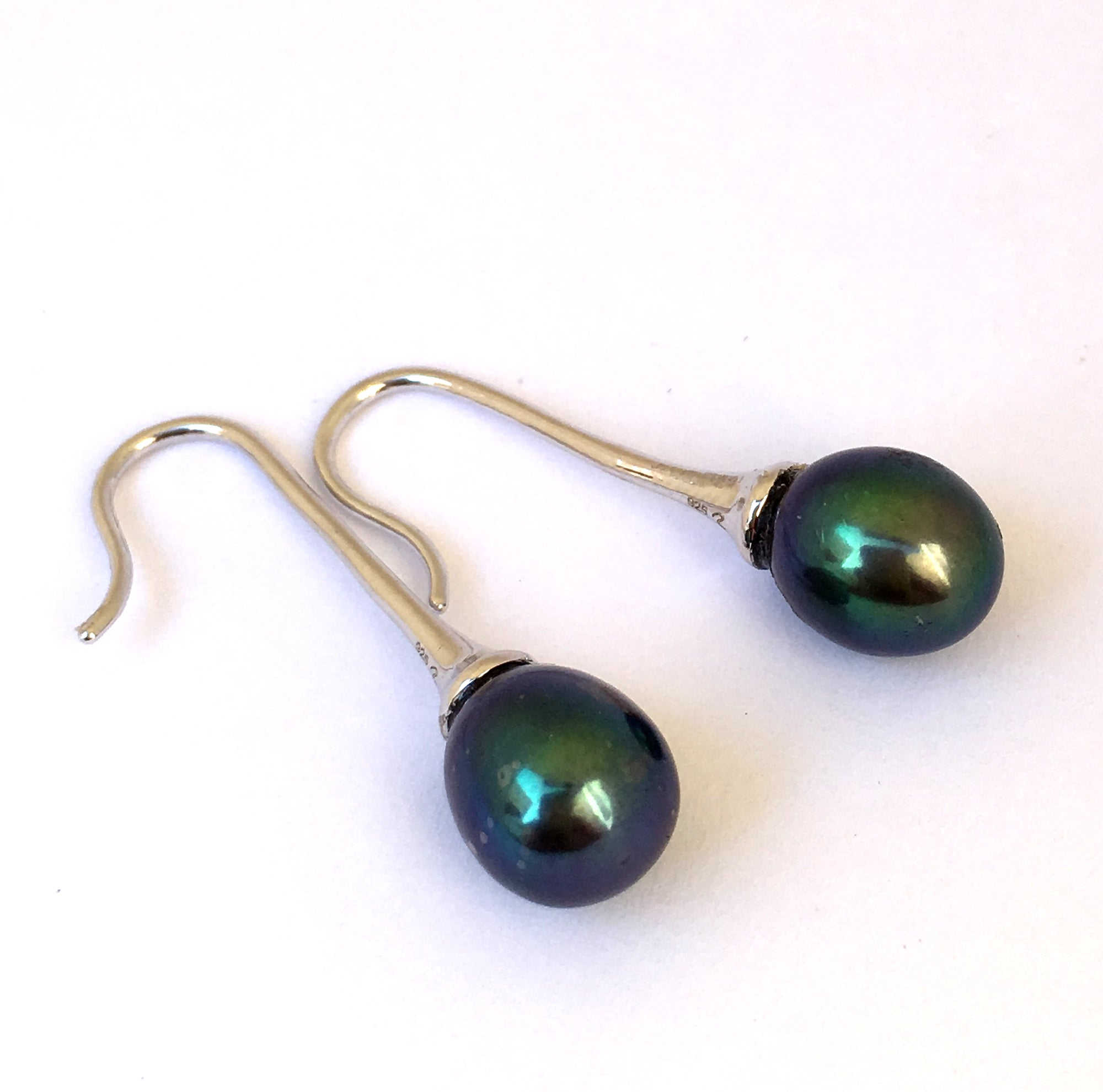 Single Peacock Pearl Sterling Silver Earrings