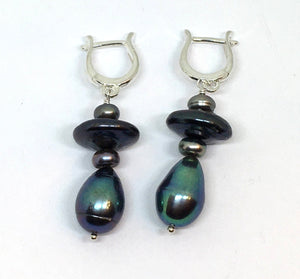 Mixed peacock pearl dangle earrings with omega earwires in sterling silver