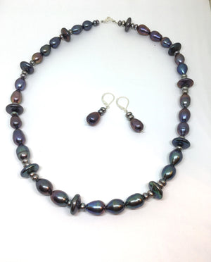 Mixed freshwater peacock pearl necklace and leverback earring set is an option