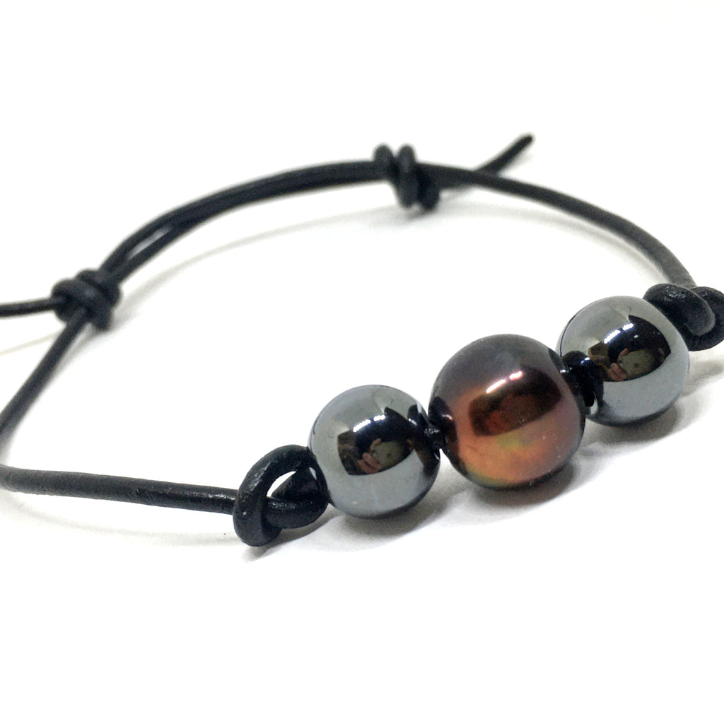 Peacock Pearl and Hematite Knotted Leather Bracelet for Men and Women