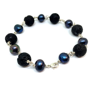 Black Peacock Pearl and Lava Sterling Silver Bracelet