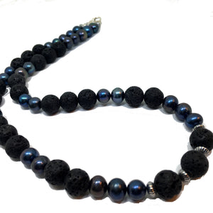 Black Peacock Pearl and Lava Beaded Necklace