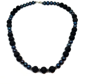 black peacock pearl and lava beaded necklace with spring ring clasp