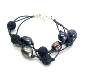 Triple Strand Peacock Freshwater Pearl and Lava Leather Bracelet