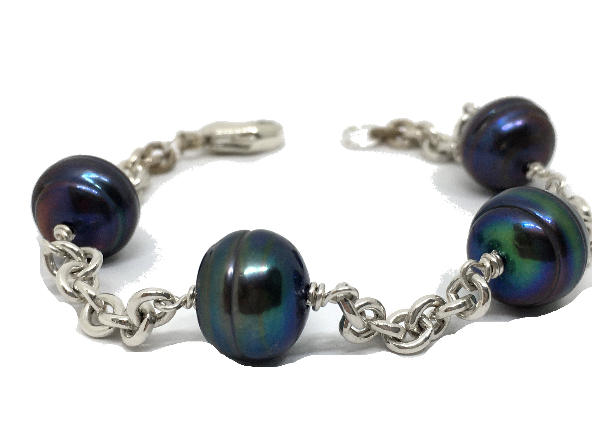 Black peacock baroque pearl station chain bracelet in sterling silver