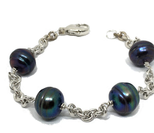 Baroque Peacock Pearl and Sterling Silver Station Bracelet
