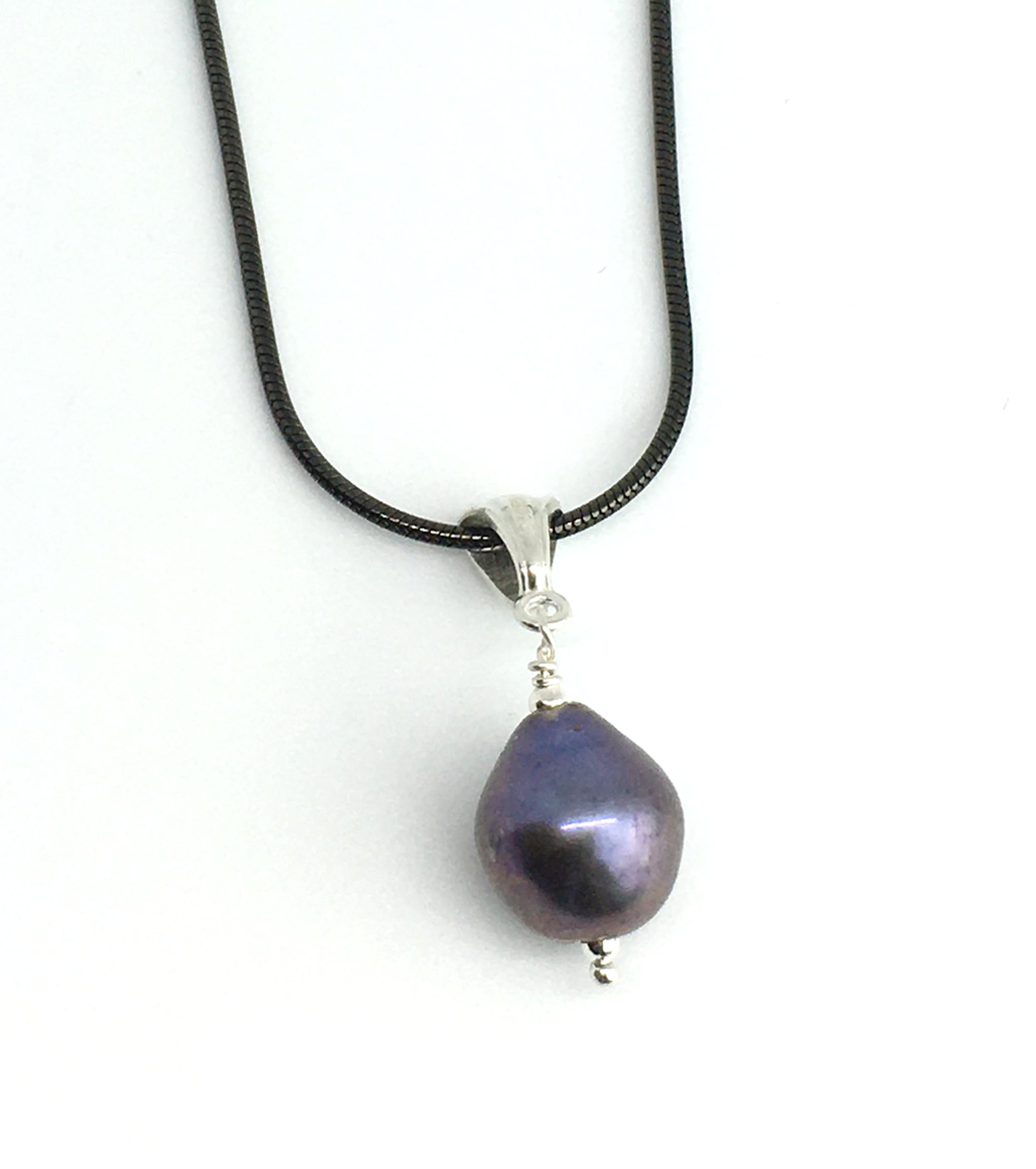 Peacock Pearl Pendant Necklace with Black Sterling Silver Snake Chain