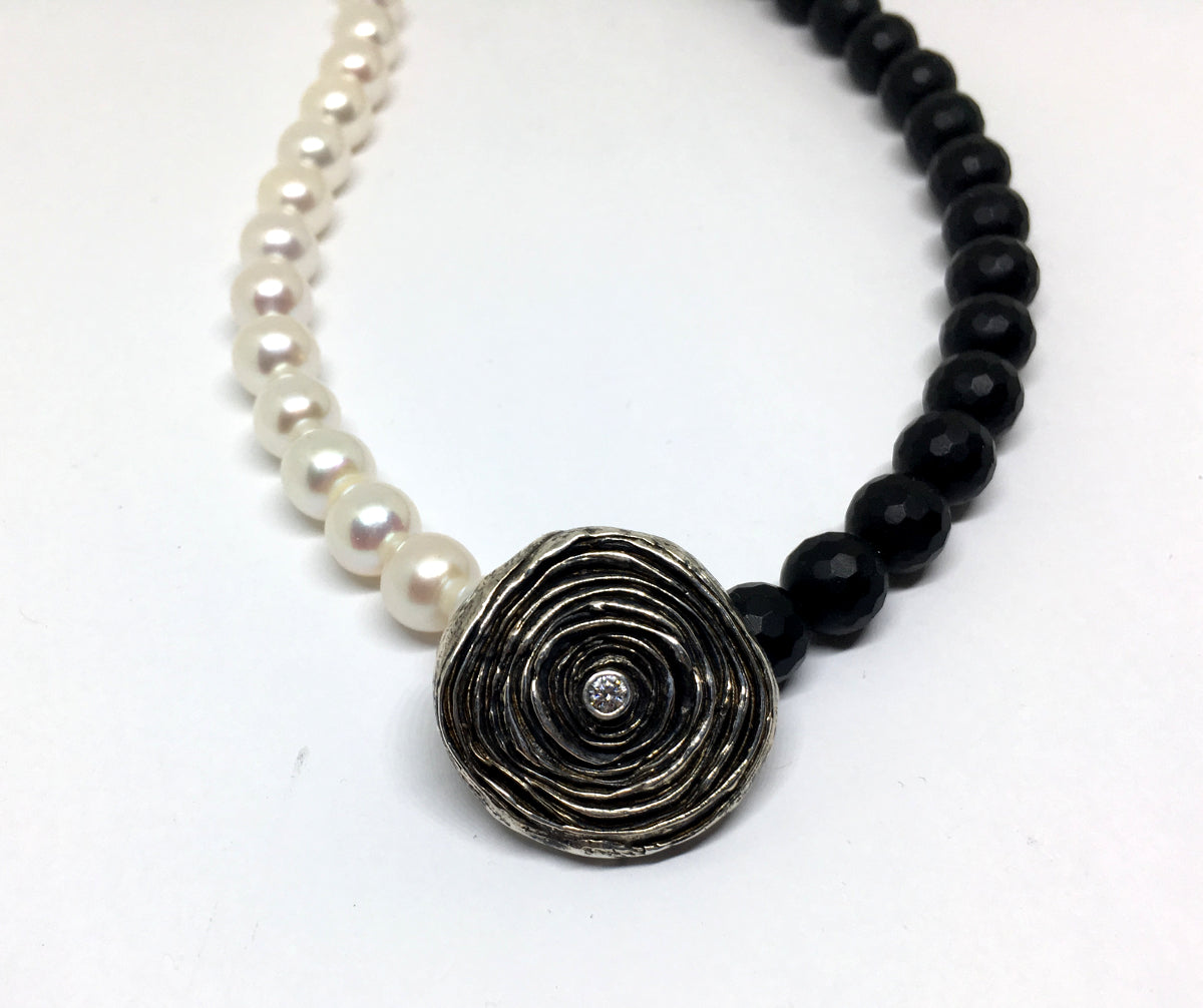 Onyx, Pearl and Diamond Statement Necklace - Asymmetrical Necklace with Mitsuro Hikime