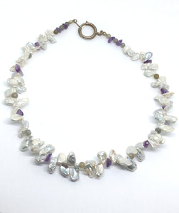 freshwater pearl petal necklace with labradorite and amethyst gemstones