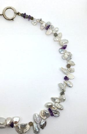 Pearl Petal Necklace with Gemstones
