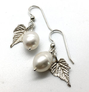 Cultured Freshwater White Pearl Drop Earrings with Sterling Silver Grape Leaves