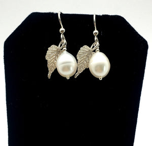 cultured freshwater white pearl earrings with sterling silver grape leaves