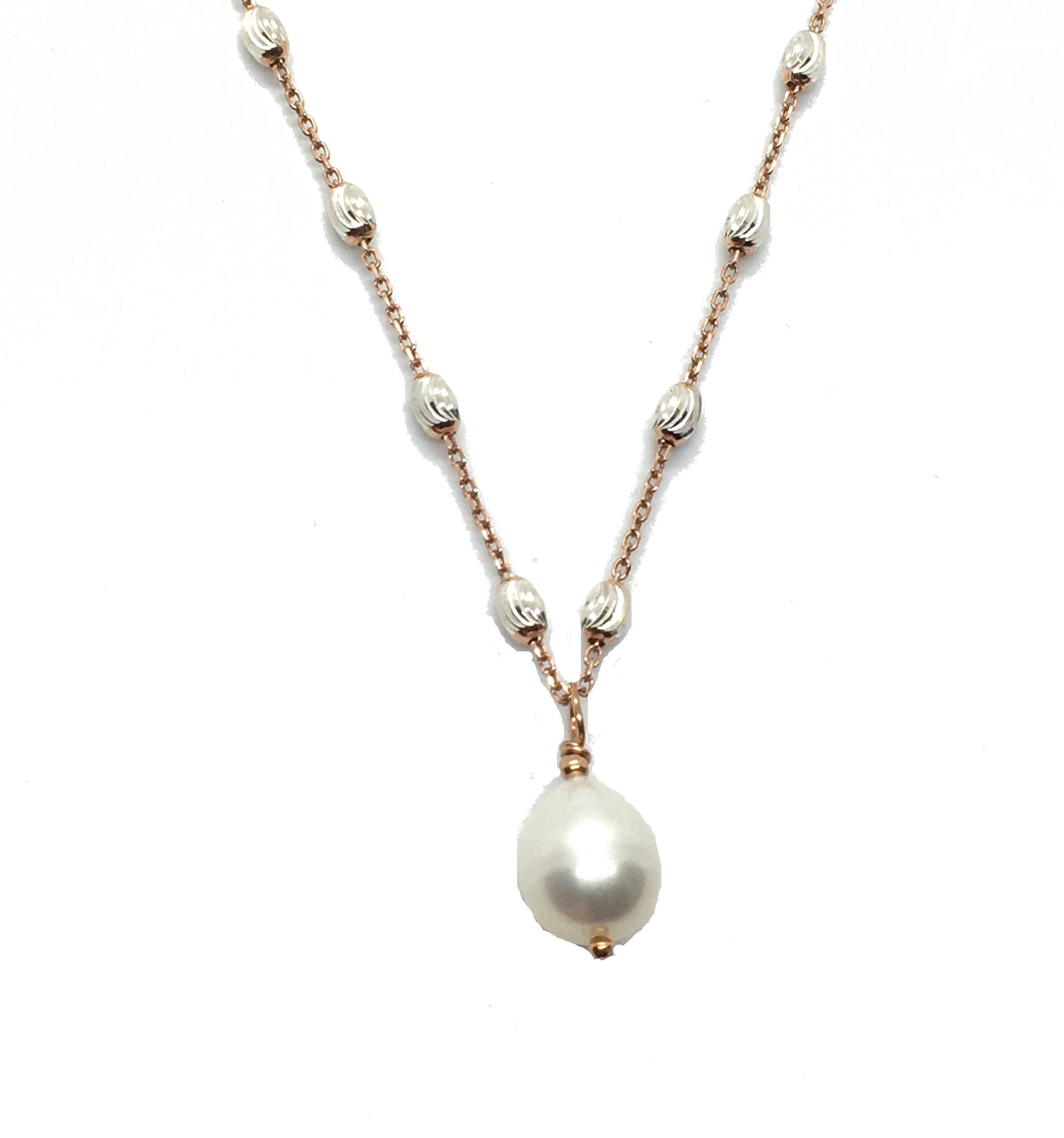 Single Pear Shape Freshwater White Pearl Pendant Necklace on Rose Gold Filled Silver Chain