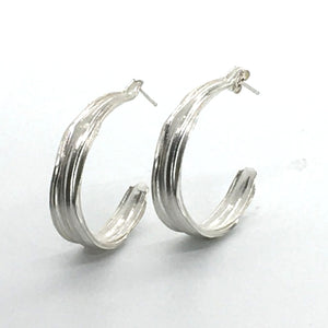 mitsuro hikime sterling silver bamboo semi hoop earrings with post