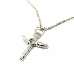 Sterling Silver Cross with White Topaz