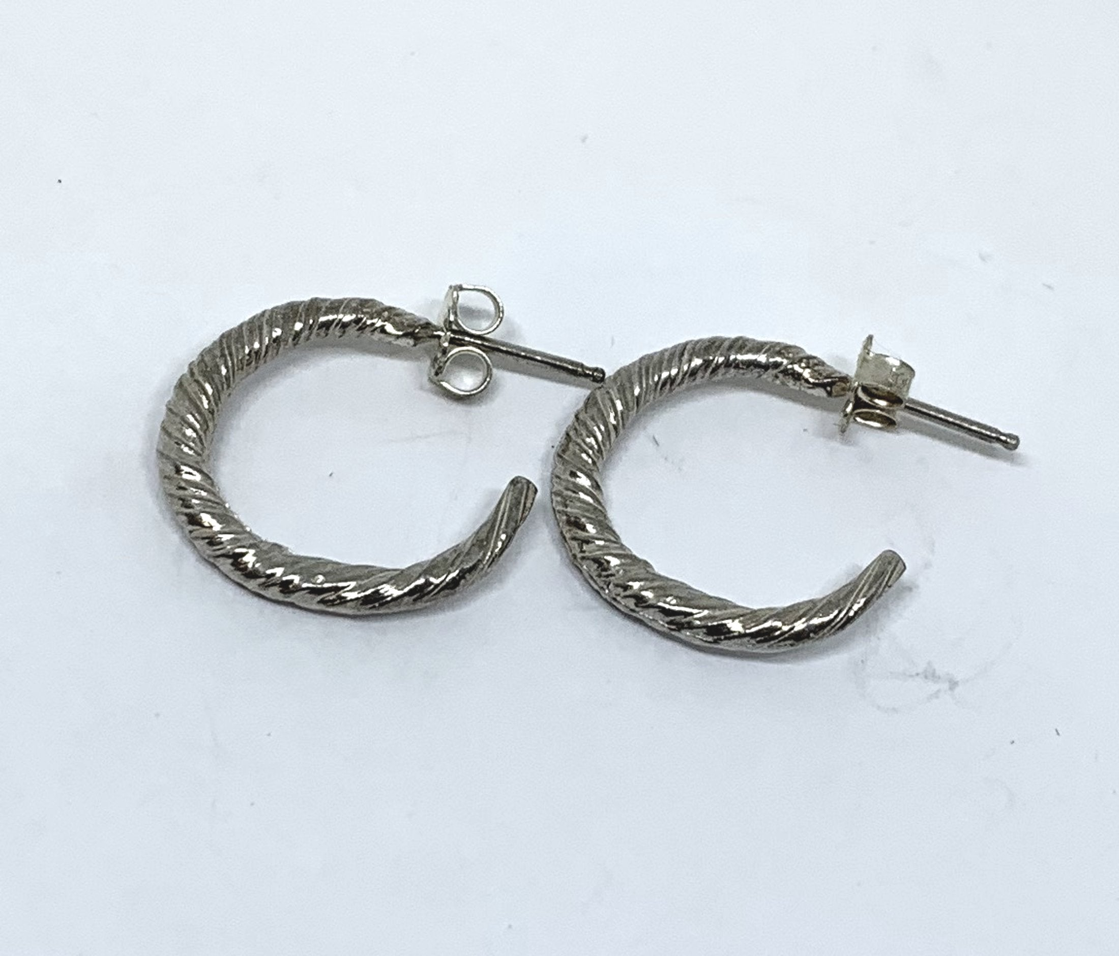 Sterling silver twist semi hoop earrings - small size