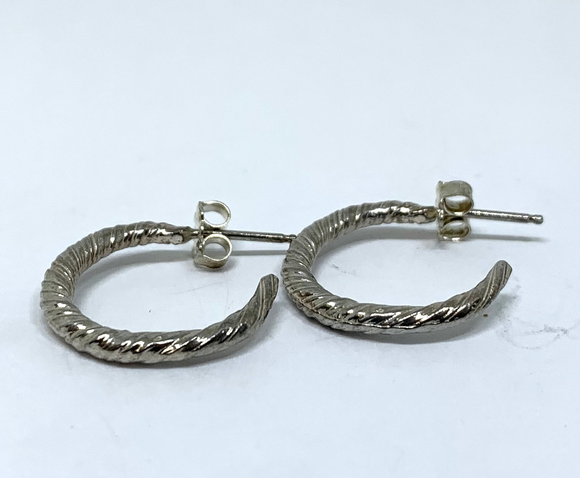 Sterling Silver Mitsuro Hikime Twist Semi Hoop Earrings - Small
