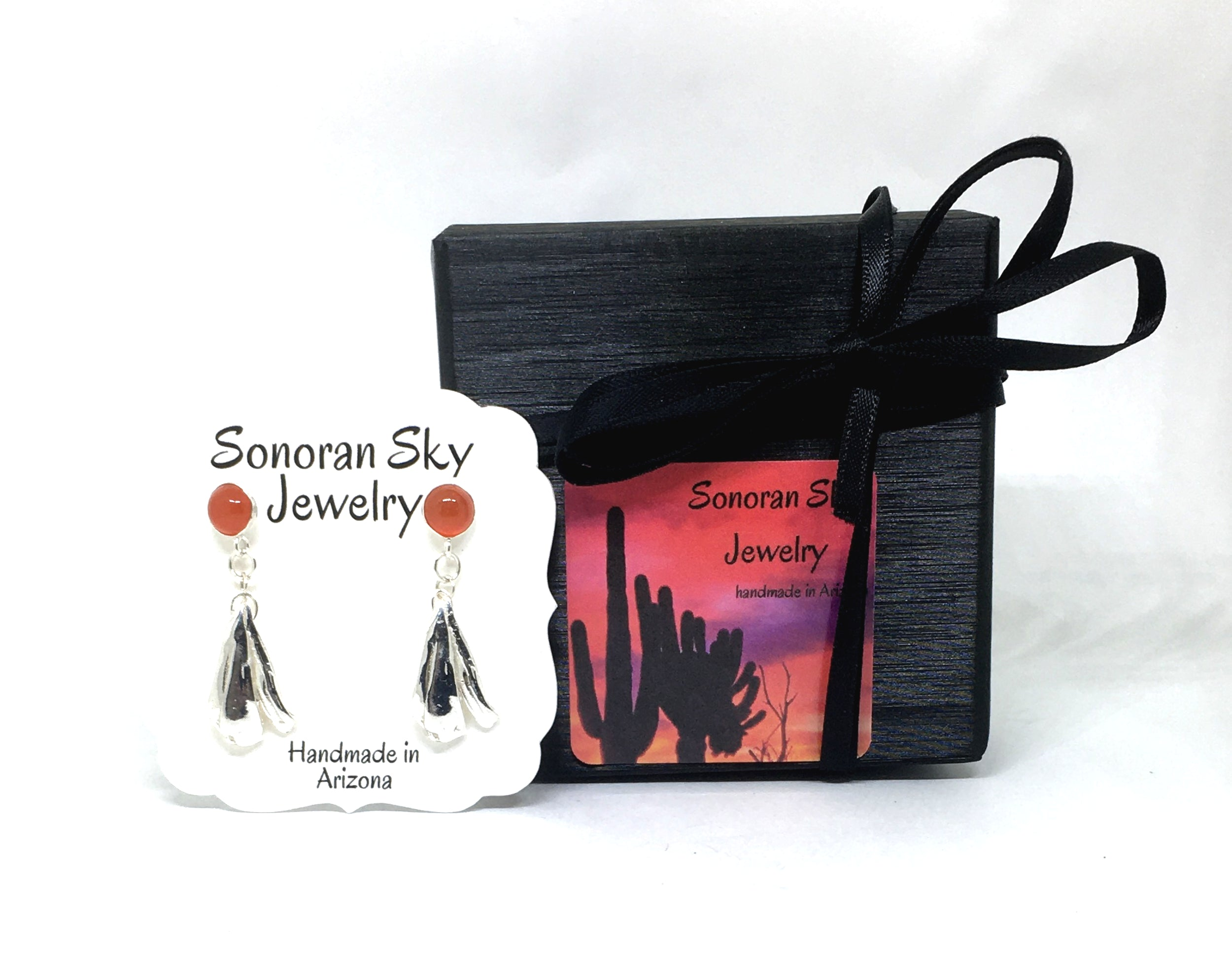 Your sonoran sky jewelry will arrive in a ribbon wrapped gift box.