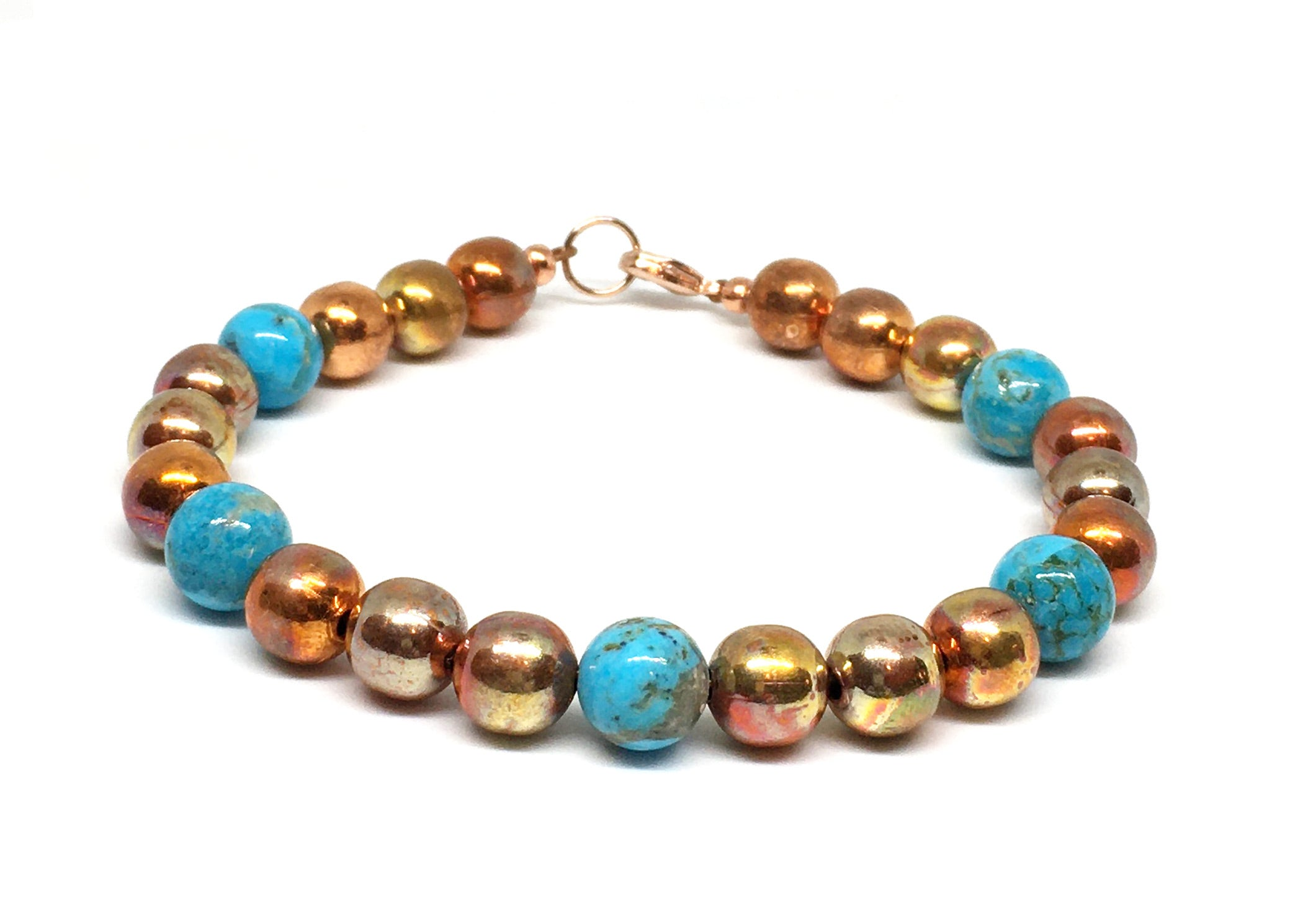 Kingman Turquoise and Flame Painted Copper Bead Bracelet - Sonoran Sunset Collection