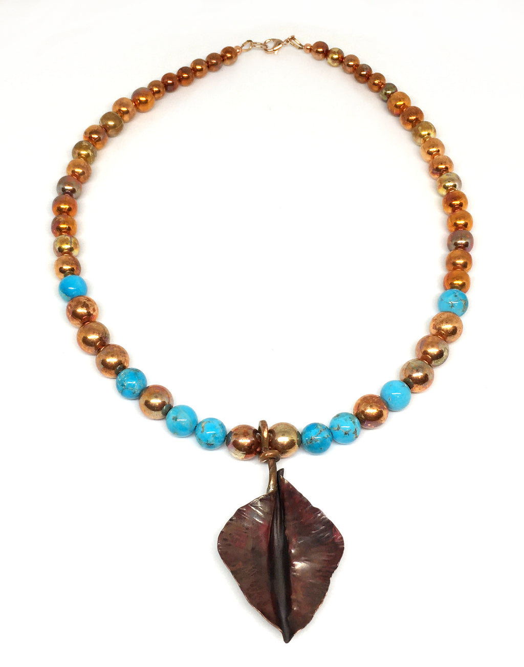 kingman turquoise and flame painted copper bead necklace with fold formed copper leaf