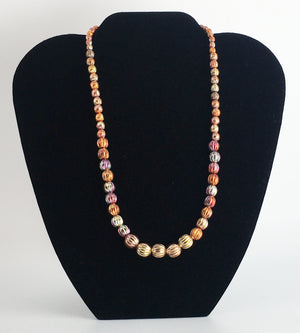 Sonoran Sunset Graduated Corrugated Copper Bead Strand Necklace
