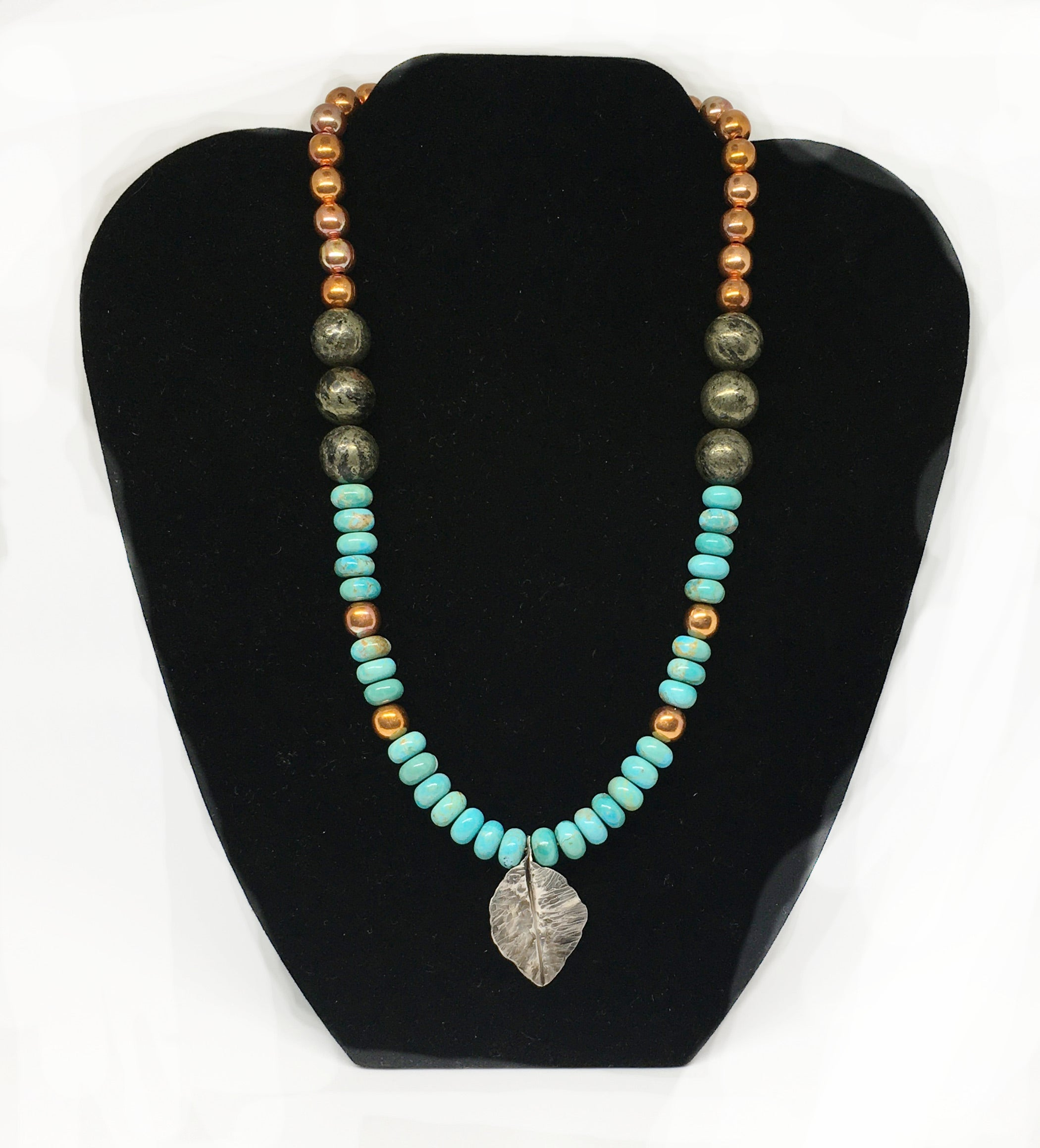 Kingman Turquoise, Apache Gold Gemstone and Flame Painted Copper Necklace with Hand Forged Silver Leaf - Sonoran Sunset Collection