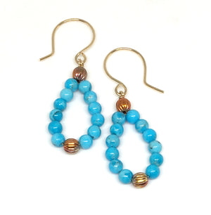 Kingman Turquoise and Flame Painted Copper Bead Hoop Earrings - Sonoran Sunset Collection