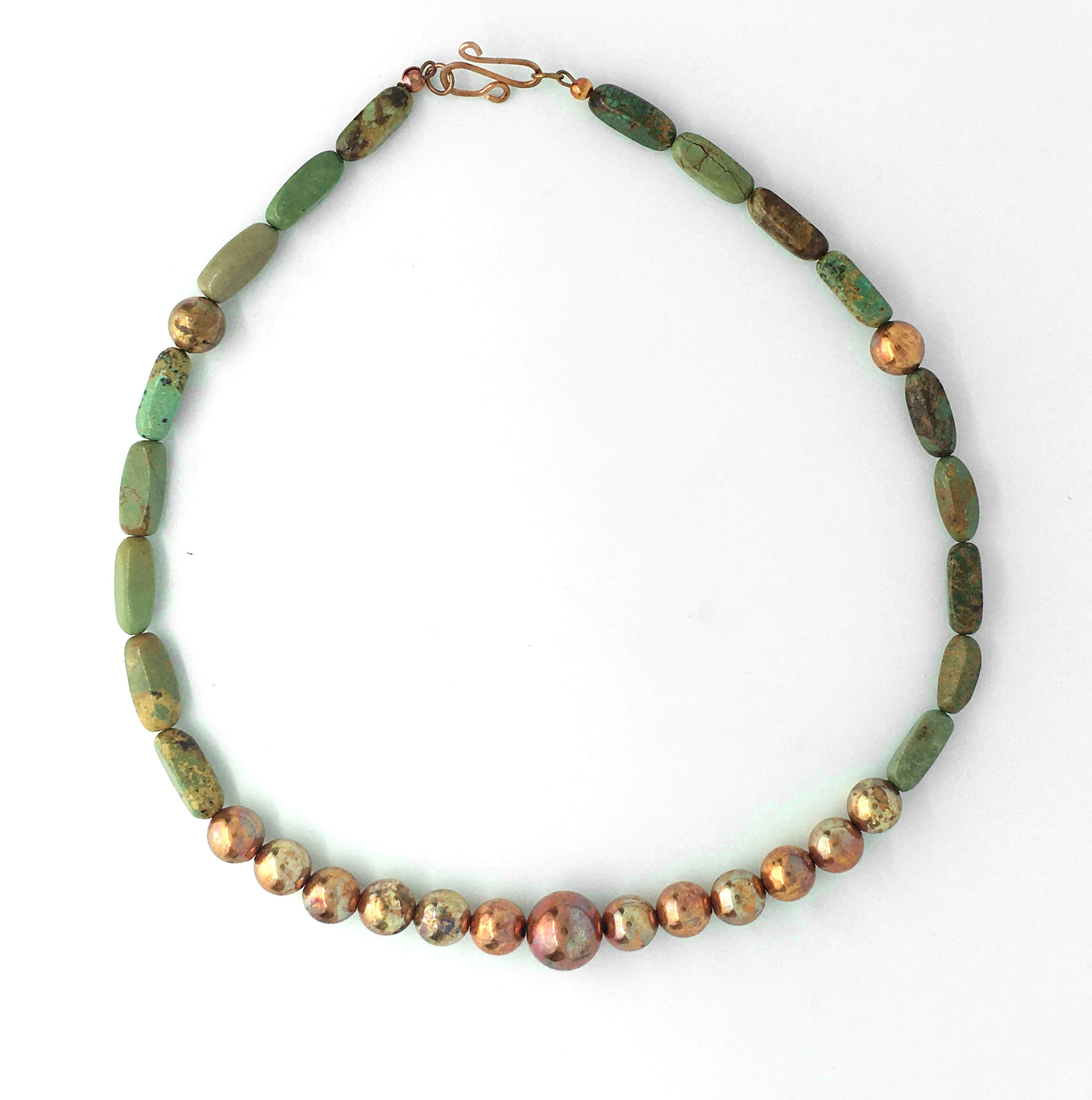 sonoran sunset flame painted copper bead and turquoise necklace