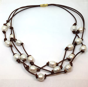 White Baroque Pearl Knotted Brown Leather Triple Strand Necklace