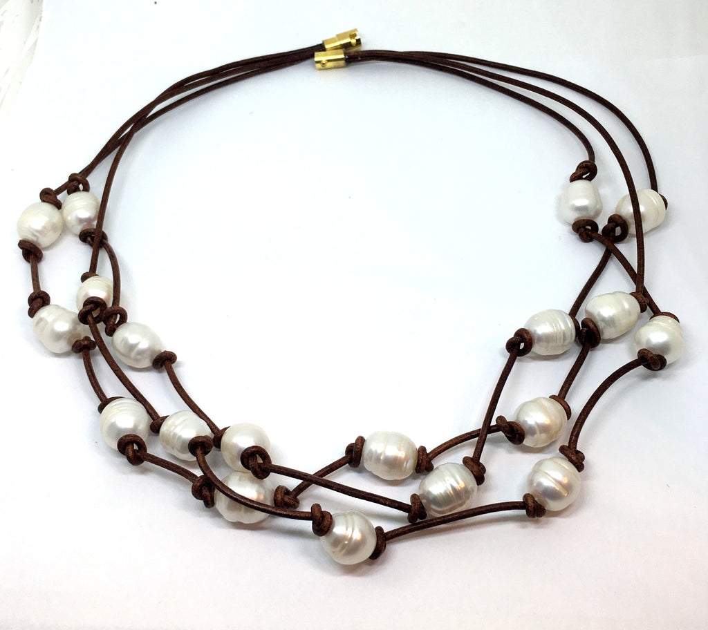 triple strand white baroque pearl knotted leather necklace