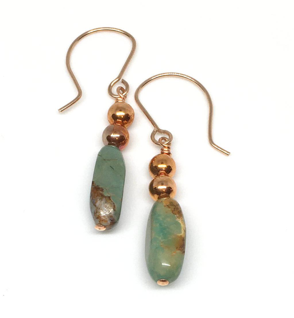 turquoise and flame painted copper dangle earrings
