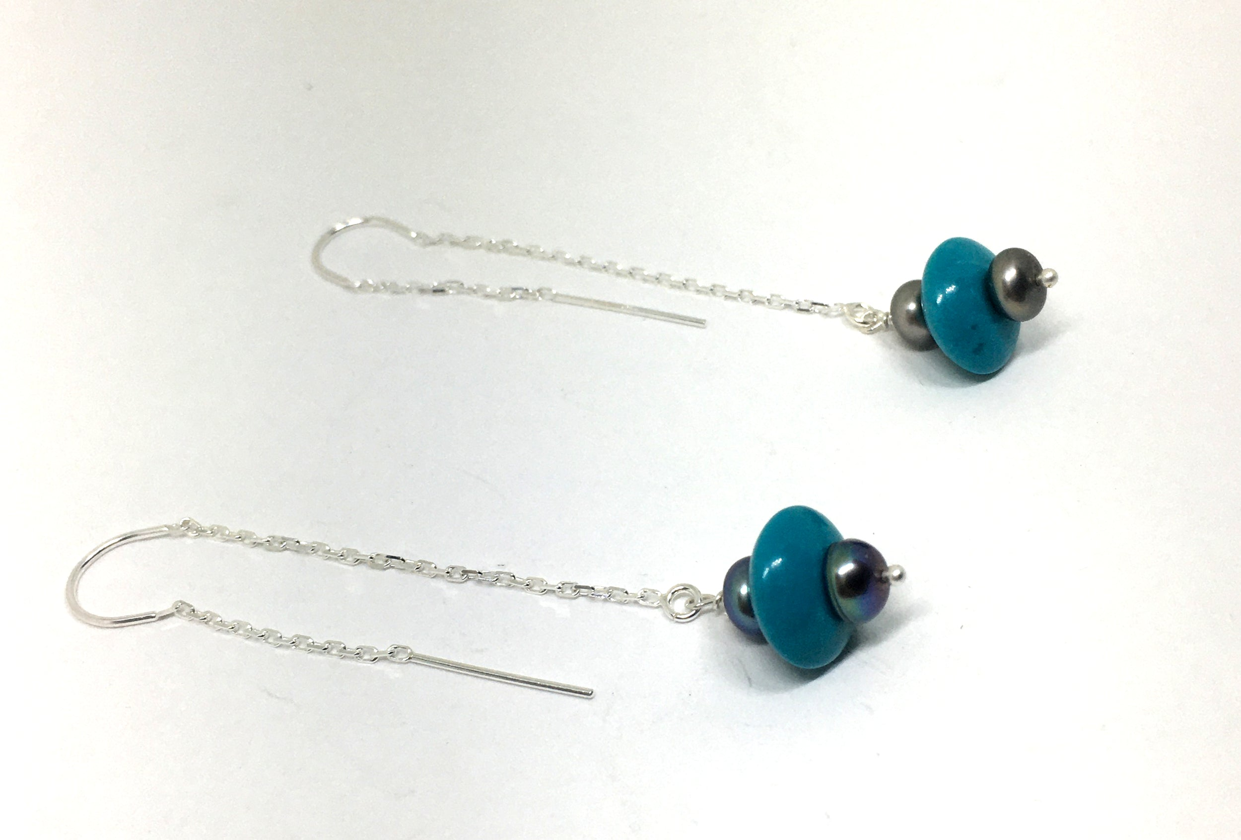 Turquoise and Pearl Threader Earrings in Sterling Silver