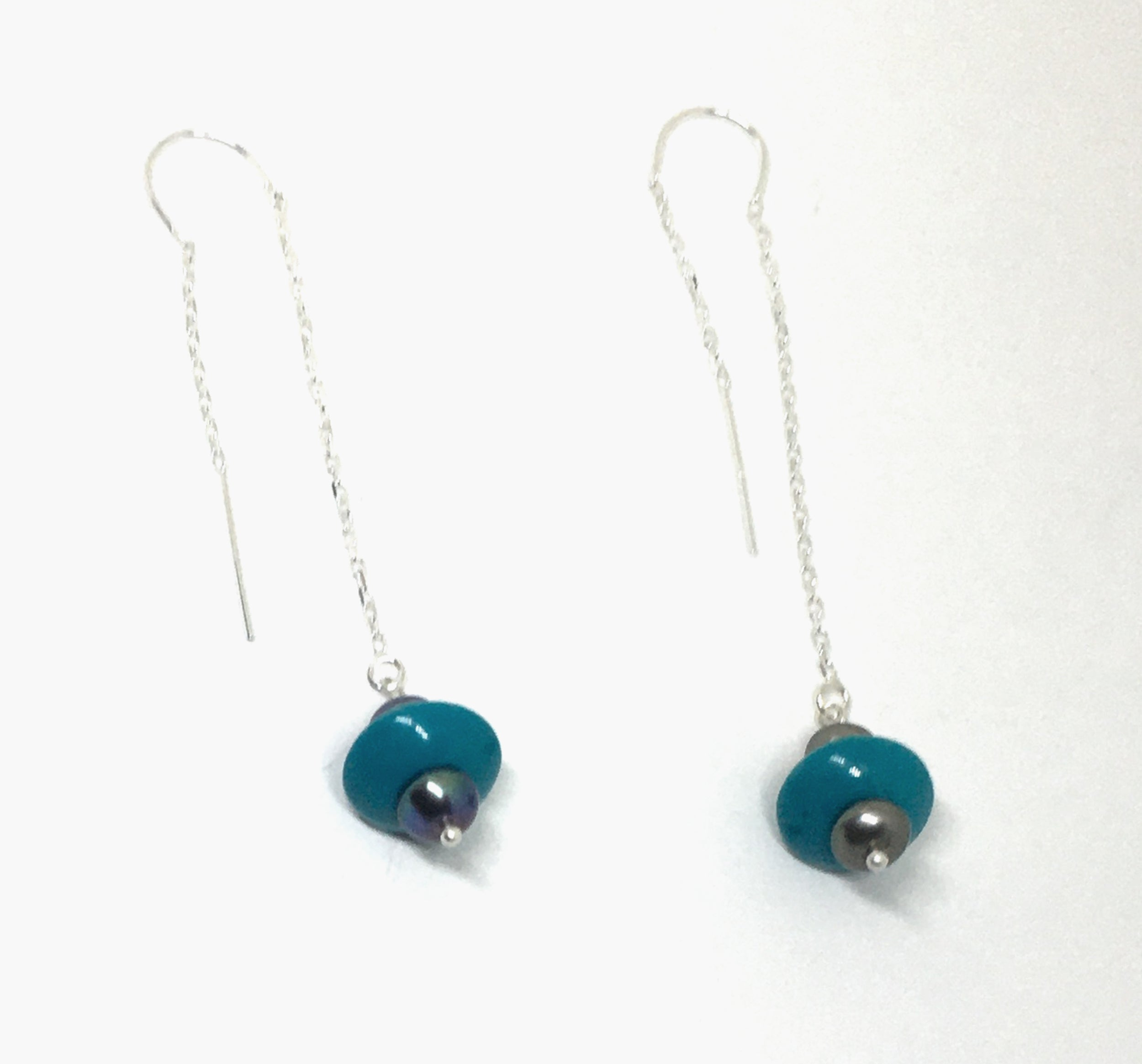 Turquoise and dove gray threader earrings
