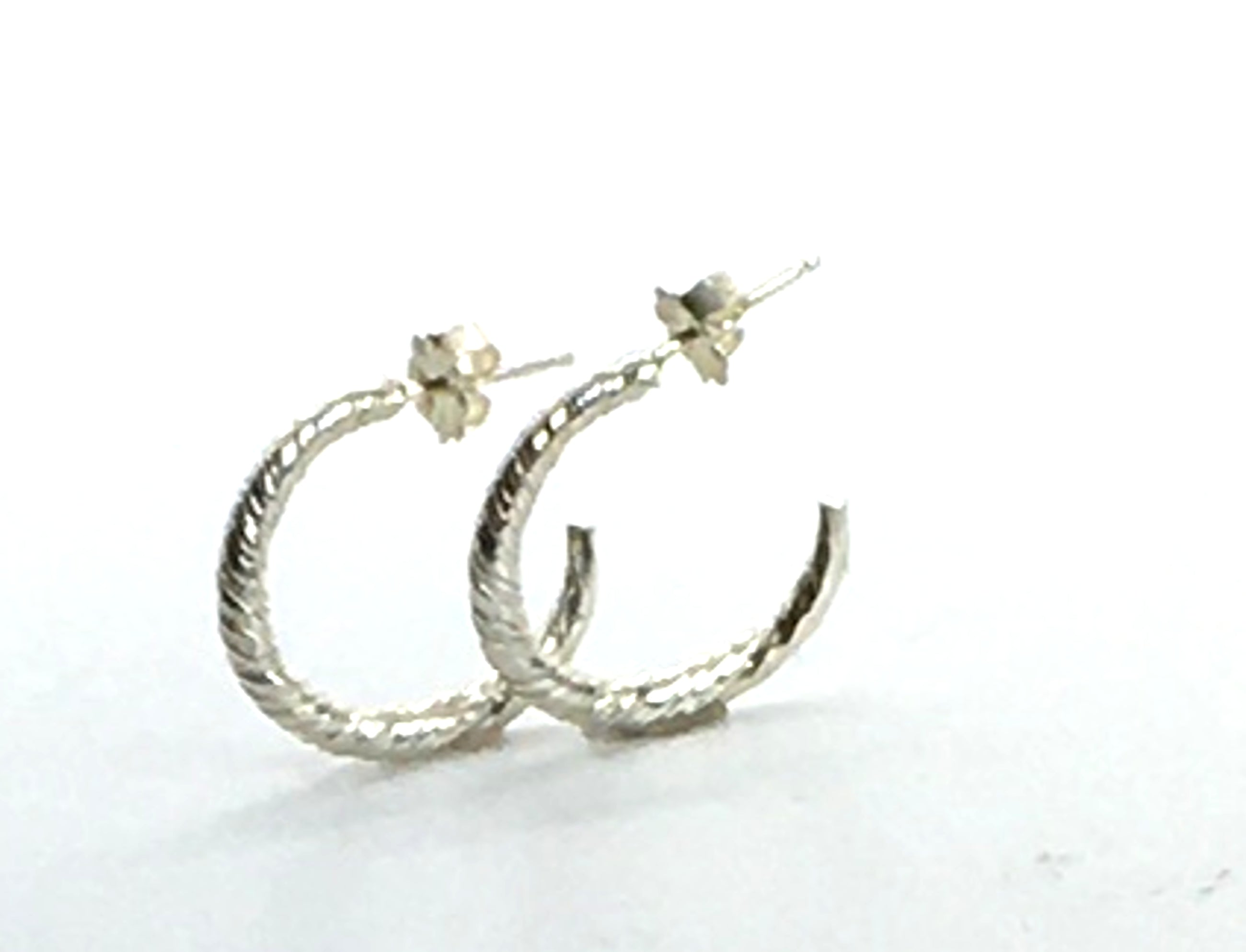 sterling silver twist earrings semi hoop with post