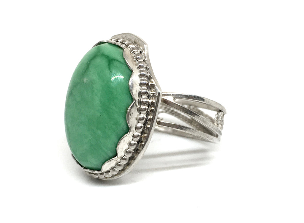 Handmade Silver Filigree Ring with Variscite Gemstone
