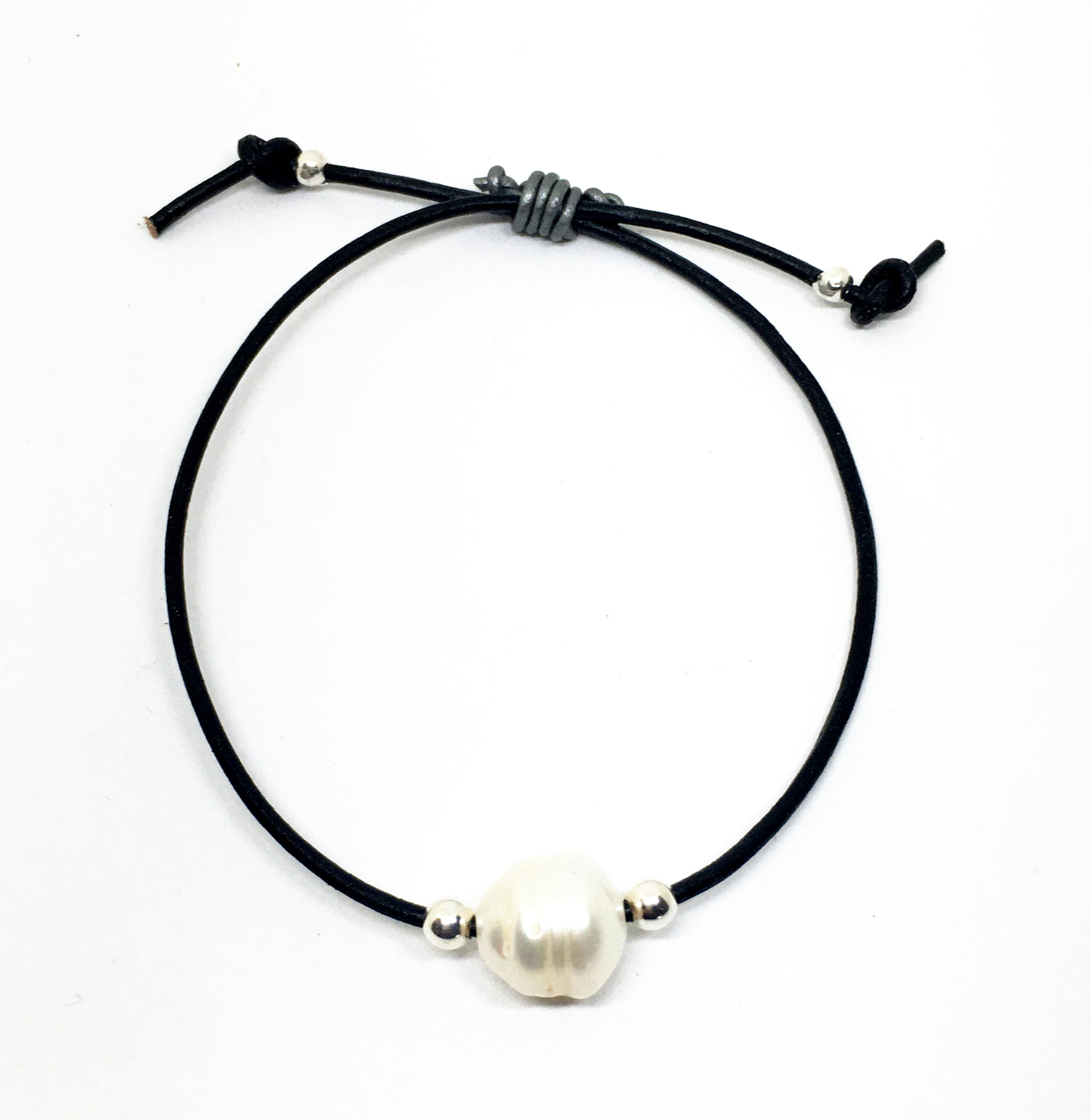 baroque white pearl and silver bead adjustable black leather bracelet
