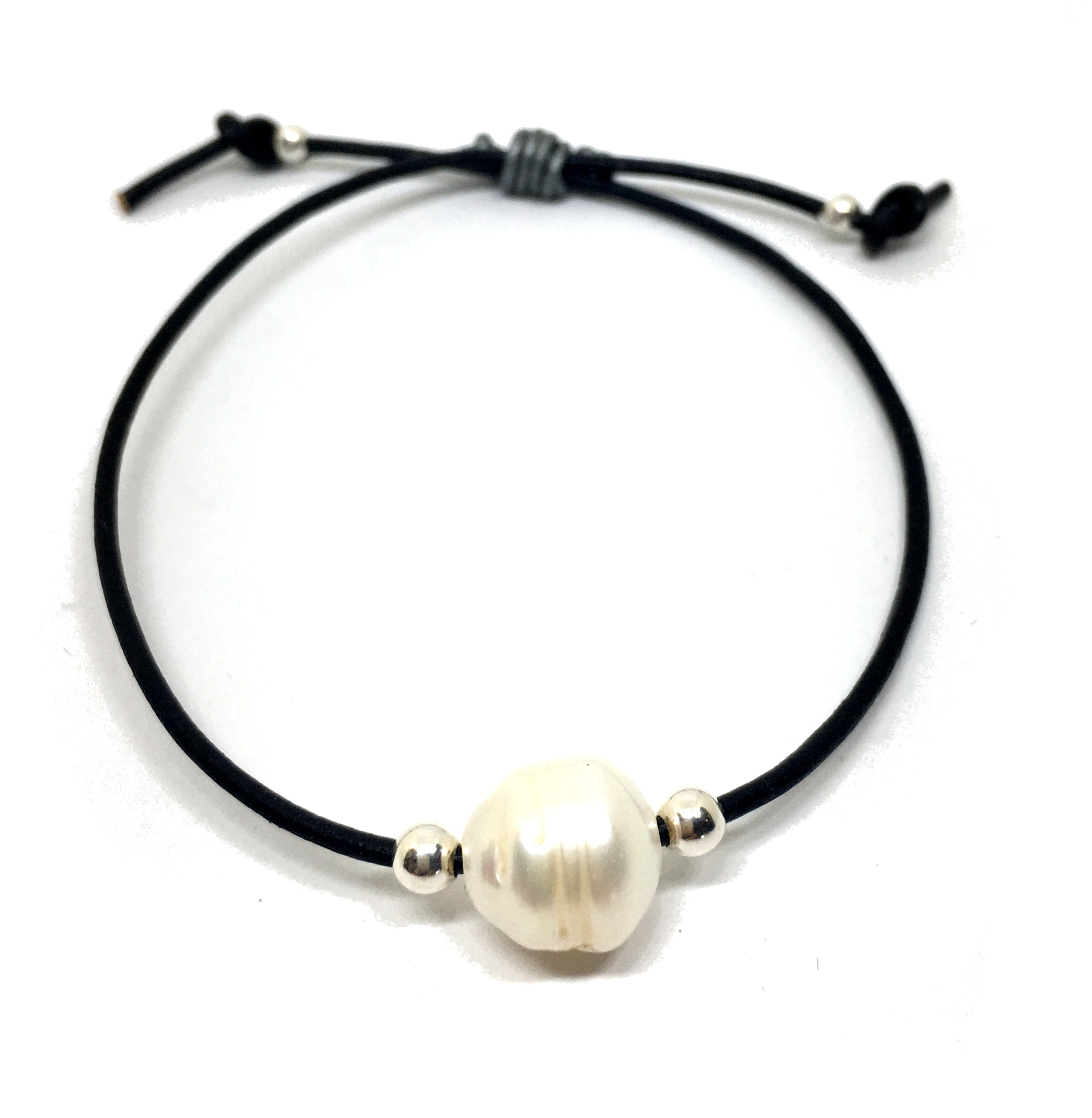 Baroque White Pearl Adjustable Black Leather Bracelet