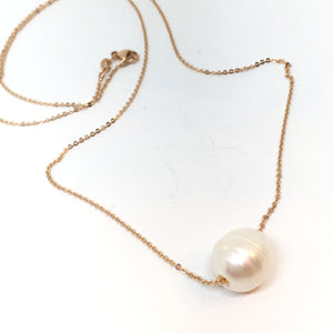 Single White Pearl on A 14K Rose Gold Chain